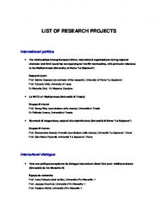 LIST OF RESEARCH PROJECTS
