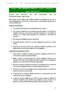 Lista de control de los peligros de la biotecnología agrícola