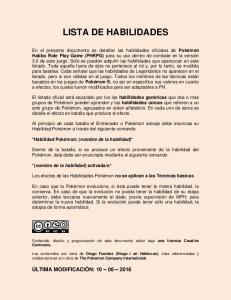 LISTA DE HABILIDADES