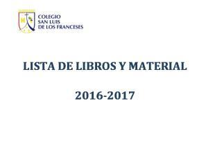 LISTA DE LIBROS Y MATERIAL