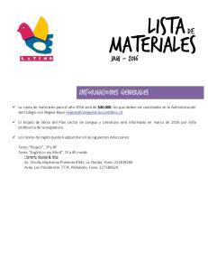 LISTA DE MATERIALES JAQI INFORMACIONES GENERALES