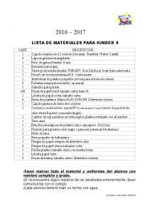 LISTA DE MATERIALES PARA KINDER 4