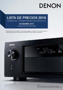 LISTA DE PRECIOS 2016 SISTEMAS HIFI Y SISTEMAS DIGITALES DE CINE EN CASA