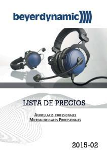 LISTA DE PRECIOS AURICULARES PROFESIONALES MICROAURICULARES PROFESIONALES