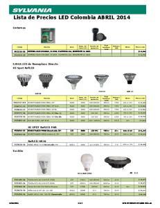 Lista de Precios LED Colombia ABRIL 2014
