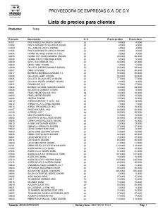 Lista de precios para clientes