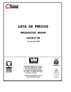 LISTA DE PRECIOS PRODUCTOS BISON LISTA # de diciembre 2009