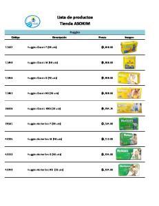 Lista de productos Tienda ASOKIM