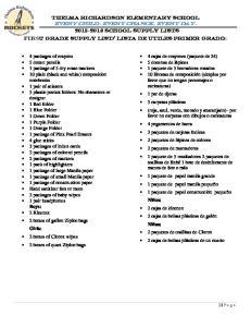 Lista de UTiles primer grado: