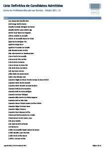 Lista Definitiva de Candidatos Admitidos