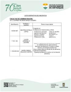 LISTA DEFINITIVA DE INSCRITOS