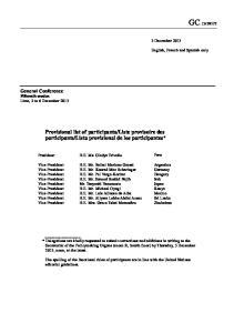 lista provisional de los participantes*