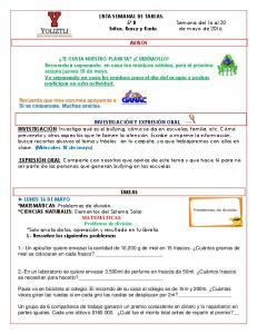 LISTA SEMANAL DE TAREAS. 5º B Sritas. Rossy y Karla AVISOS