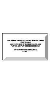 LISTADO DE BIENES DEL SECTOR AGROPECUARIO EXONERADOS COMPRENDIDOS EN EL ARTICULO No. 126 LEY No. 453