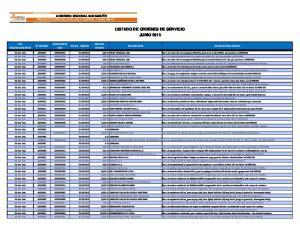 LISTADO DE ORDENES DE SERVICIO JUNIO 2015