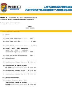 LISTADO DE PRECIOS PATRONATO BOSQUE Y ZOOLOGICO