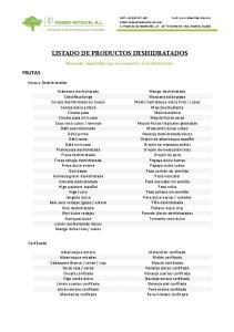 LISTADO DE PRODUCTOS DESHIDRATADOS