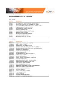 LISTADO DE PRODUCTOS VIGENTES