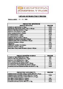LISTADO DE PRODUCTOS Y PRECIOS
