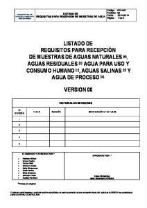 LISTADO DE REQUISITOS PARA RECEPCION DE MUESTRAS DE AGUA