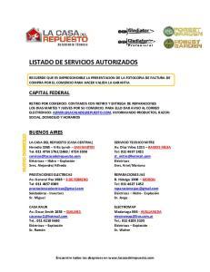 LISTADO DE SERVICIOS AUTORIZADOS