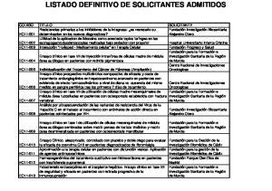 LISTADO DEFINITIVO DE SOLICITANTES ADMITIDOS