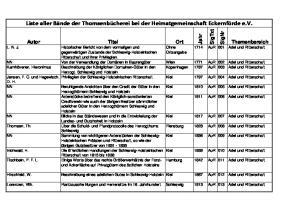 Liste aller Bände der Thomsenbücherei bei der Heimatgemeinschaft Eckernförde e.v