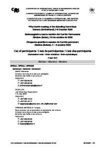 Liste des participants (SC54)
