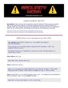 Listener Feedback Q&A #27