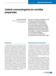 Listeria monocytogenes en comidas