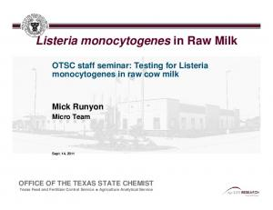 Listeria monocytogenes in Raw Milk
