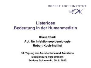 Listeriose Bedeutung in der Humanmedizin