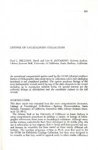 LISTINGS OF UNCATALOGED COLLECTIONS