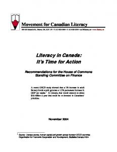 Literacy in Canada: It s Time for Action