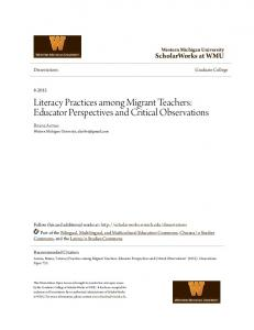 Literacy Practices among Migrant Teachers: Educator Perspectives and Critical Observations
