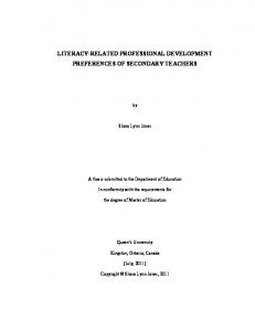 LITERACY-RELATED PROFESSIONAL DEVELOPMENT PREFERENCES OF SECONDARY TEACHERS