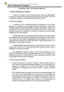 LITERATURA. TEMA 7. EL TEATRO DEL SIGLO XVII I. TEATRO Y SOCIEDAD EN EL BARROCO