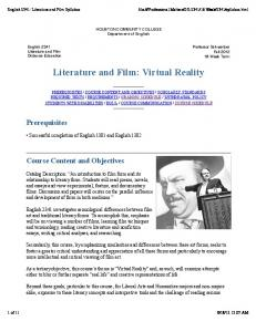 Literature and Film: Virtual Reality