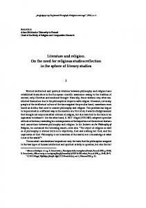 Literature and religion. On the need for religious studies reflection in the sphere of literary studies