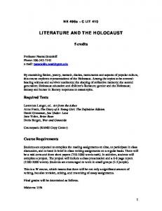 LITERATURE AND THE HOLOCAUST