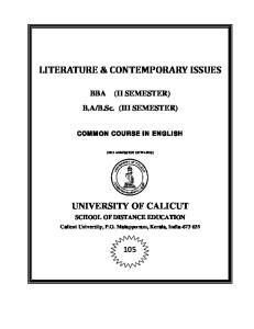 LITERATURE & CONTEMPORARY ISSUES