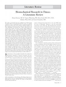 Literature Review Biomechanical Research in Dance: A Literature Review
