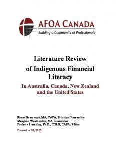 Literature Review of Indigenous Financial Literacy. In Australia, Canada, New Zealand and the United States