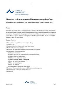 Literature review on aspects of human consumption of soy