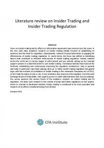Literature review on Insider Trading and Insider Trading Regulation