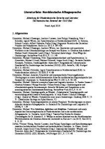 Literaturliste: Norddeutsche Alltagssprache