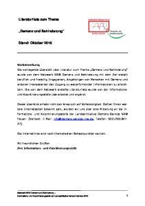 Literaturliste zum Thema. Demenz und Behinderung. Stand: Oktober 2016