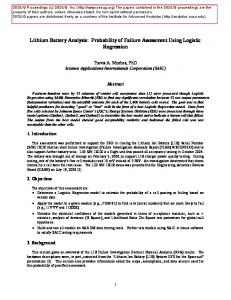 Lithium Battery Analysis: Probability of Failure Assessment Using Logistic Regression