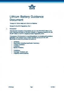 Lithium Battery Guidance Document