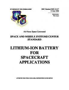 LITHIUM-ION BATTERY FOR SPACECRAFT APPLICATIONS